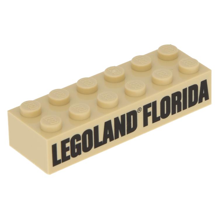 LEGO part 2456pb007 - Tan Brick 2 x 6 with Black LEGOLAND FLORIDA Pattern  at BrickScout